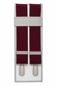 Plain Wine Mens Elastic Trouser Braces